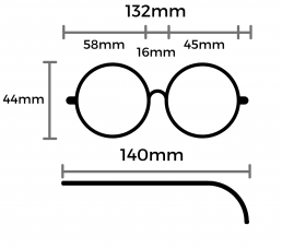 cara glasses size guide